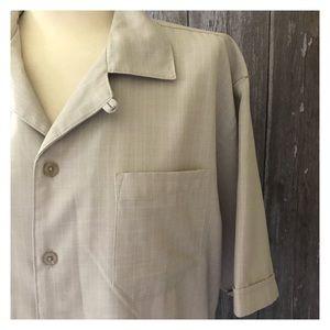 Hipster Tan Wide Collar Button Down Shirt